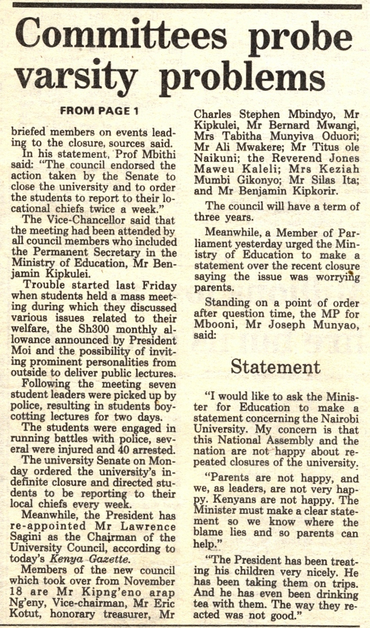 1987-Committees probe varsity problems