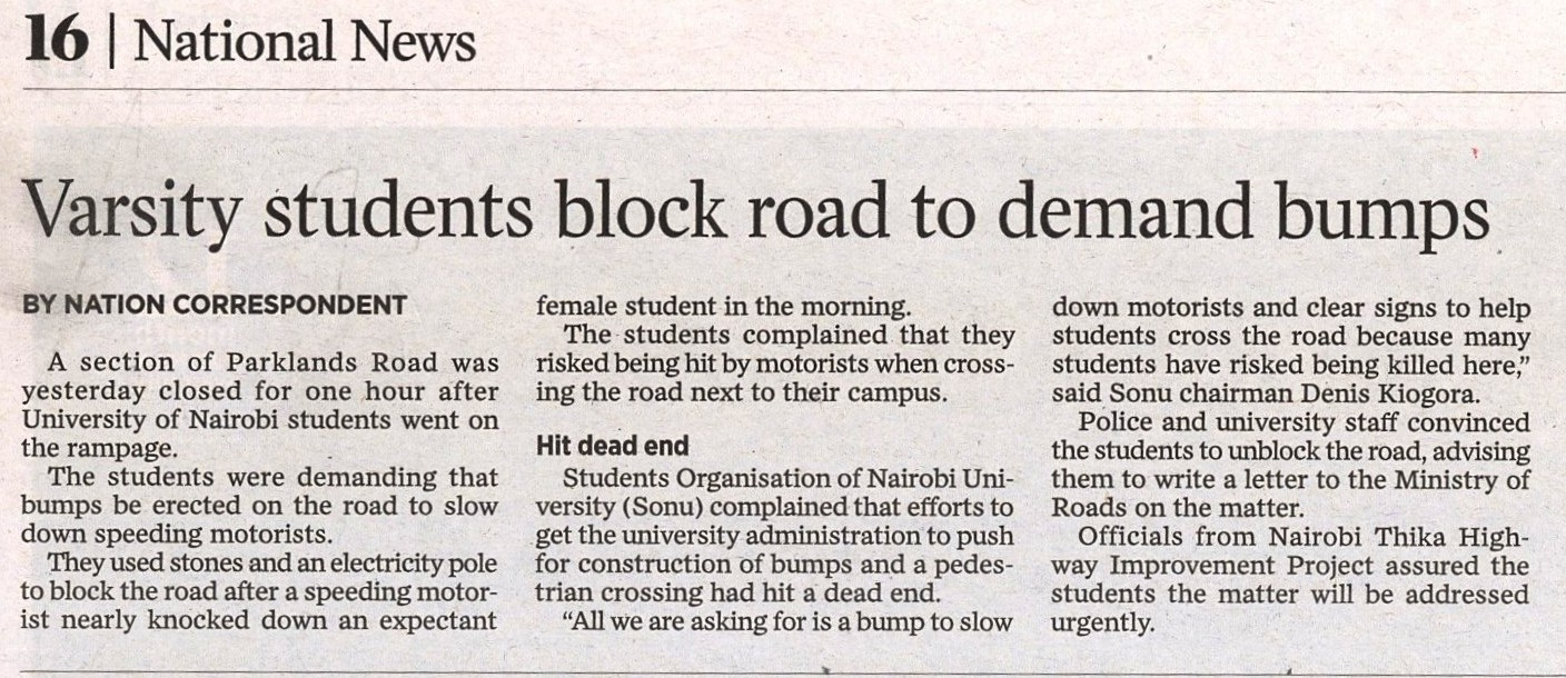 Varsity students block road to demand bumps