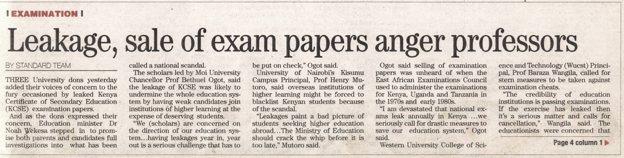 2006-Leakage, sale of exam papers anger professors